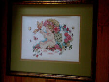 Completed/ Cross Stitched/ of an Angel/ Playing with Butterflies/ and roses/