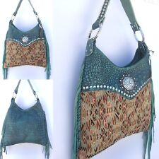 Raviani Western Turquoise Leather Handbag Purse w  Fringe   Swarvoski  Crystals 1 e9347fda4c8e1