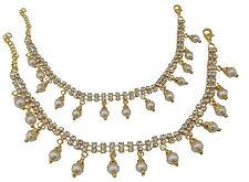 Jwellmart Indian Bollywood Ethnic Bridal Wedding Gold Polish Motifs CZ Anklets