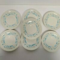 "7 Royal China BLUE HEAVEN Saucers Mid Century Modern 6.25"" EUC Atomic Retro"