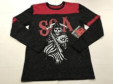 Sons of Anarchy T-Shirt Long Sleeve SOA Skull Black & Red Grim Reaper Mens Small