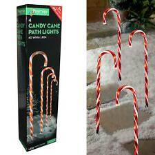 Christmas Candy Cane Path Lights with LED's 4 Piece 62cm - Red and White