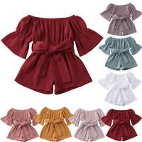 Toddler Baby Kids Girls Summer Off-Shoulder Ruffle Bow Romper Jumpsuit Outfits