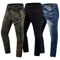 New Men Denim Indigo Stretchy Jeans Slim Fit Biker Hip Hop Pants Sizes 32-44