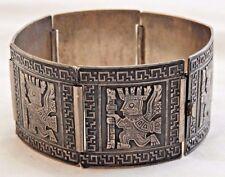 Vintage Peruvian 900 Silver Signed Panel Bracelet