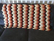 "Handmade Crochet Knitted CHEVRON Afgan Blanket Brown Orange Zig Zag 53"" x 26"""