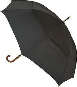 Clifton Storm King Classic 100/120 Vented Canopy Long Walking Umbrella Black
