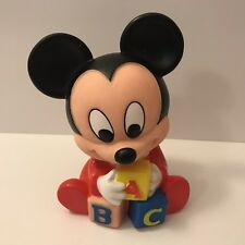 New listing Vintage 1984 Disney Mickey Mouse Shelcore Squeaky Rubber Toy Doll Abc Blocks