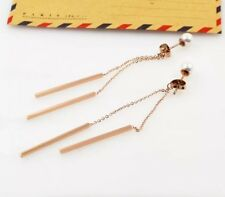 NEW Women's 18K Rose Gold Filled 5mm Pearl Bar Drop Dangle Stud Earrings Jewelry