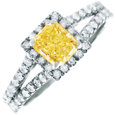 Fancy Yellow 2 CT Radiant & Round Diamond Engagement Ring GIA Certified 18k Gold