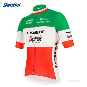NEW 2021 Santini TREK SEGAFREDO ITALIAN CHAMP FAN Short Sleeve Cycling Jersey