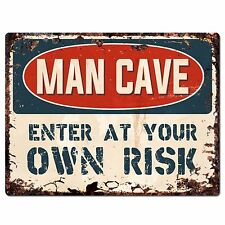 PP2632 MAN CAVE  Enter at Your OWN RISK Chic Sign Home Store Decor Funny Gift