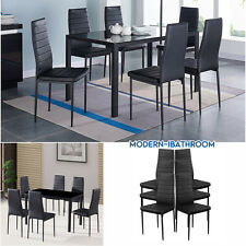 GLOSS BLACK GLASS DINING ROOM TABLE SET AND WITH 6 FAUX LEATHER CHAIRS UK STOCK