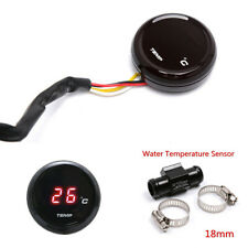 Red LED Digital Motorcycle Thermometer Water Temp Gauge Meter w/18mm Temp Sensor
