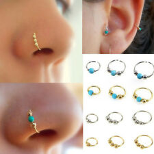 Nose Ring Stainless Steel Turquoise Nostril Hoop Nose Earring Piercing Jewelry