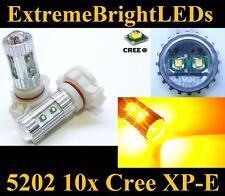 TWO Amber Orange 50W High Power 5202 H16 10x Cree XP-E LED Fog DRL Light Bulbs