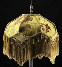 VICTORIAN LAMP SHADE HEAVY EMBROIDERED FABRIC W/ GOLD SILK RUST BEADING & FRINGE