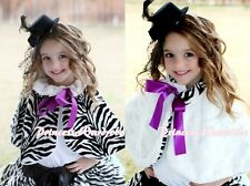 Purple Bow Baby Girl Fluff Reversible Zebra Print Petti Shawl Coat Scarf 6m-6Y