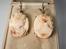 ANTIQUE 9CT GOLD CORAL CAMEO EARRINGS