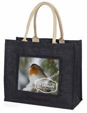 Little Robin Red Breast Large Black Shopping Bag Christmas Present I, Robin-1BLB