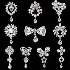 Women Crystal Rhinestone Butterfly Flower Bouquet Brooch Pin Wedding Bride DIY