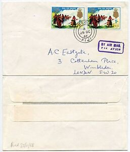 FIJI BEQA ISLAND CANCEL FIRE WALKERS ISSUE 1968 + AIRMAIL HS to TONY EASTGATE