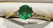 18 K Yellow Gold Natural.50ct Emerald Diamond Accent Engagement Ring #1351