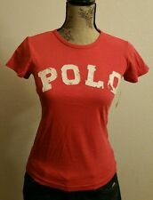 Polo Ralph Lauren Women's Graphic Distressed Polo Logo Crew Neck T-Shirt Size M