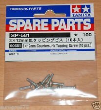 Tamiya 50581 3x12mm Countersunk Tapping Screw (10 Pcs.) (TT01/TT02/DT02/DT03)