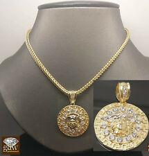 """New 10K Yellow Gold Medusa Head Charm Pendent With 10K Franco Chain 22"""" For Mens"""