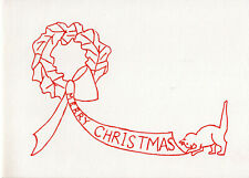 Vintage Christmas Card: CAT WITH WREATH