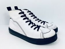 TOPSHOP High Top White Black Sneakers Made In Italy Mens Size 41 / 8