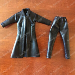 """1/12 Scale Leather Coat Leather Pants Model Soldier Clothes for 6"""" Action Figure"""