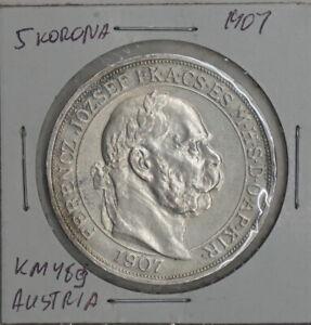 1907 KB Hungary 5 Korona 40th Coronation ann. Franz Joseph I KM# 489 AU