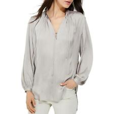 Halston Heritage Womens Gray Satin Tie-Front Work Wear Blouse Top S BHFO 0651