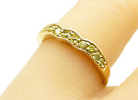 925 Sterling Silver - Citrine Gold Plated Wavy Thin Band Ring Sz 7 - R12489