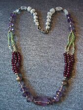 925 Sterling Silver Amethyst, Moonstone, Peridot, Citrine & Garnet Necklace