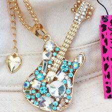 Gold White Crystal Rhinestone Blue Guitar Betsey Johnson Pendant Necklace Chain