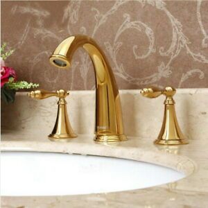 Polished Gold Brass Widespread Bathroom Sink Faucet 3 Hole Basin Mixer Tap