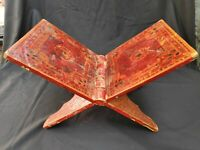 Antique Original Old Rare Lacquer Painted Holy Book Keeping Wooden Folding Stand