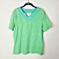 D & Co Women's Floral Peasant Gauze Top Short Sleeve Tropical  Blouse Small Size