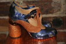 DRIES VAN NOTEN T BAR Mary Jane BLUE/SILVER ORANGE GLITTER SHOES SIZE 4.5 NEW
