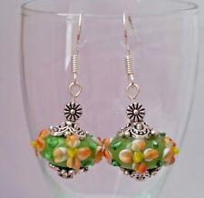 925 Sterling Silver Hook Murano Glass Lampwork Beads Drop Dangle Earrings Green