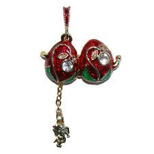 Muguet Pendentif Oeuf style Faberge Pendentif rouge forme oeuf avec un Ange