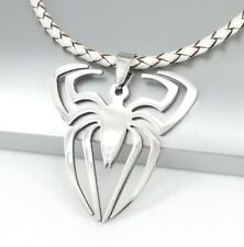 Silver Stainless Steel Spider Spiderman Pendant White Braided Leather Necklace