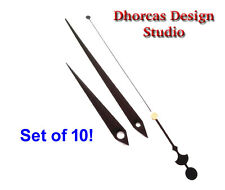 Set of 10 (30pcs) Wholesale small minute, hour & second Black metal clock hands