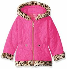 Pistachio Girls' Heart Quilted Jacket with Faux Fur 3T