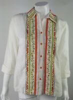 Coldwater Creek Womens Small Floral Embroidered Linen Blend Button Up Blouse EUC