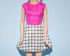 PRECIOUS! Hot Pink Top w/ Black & White Skirt Dress Genuine BARBIE Fashion