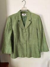 LE SUIT 100% Linen Apple Green Skirt Suit ~ Size 18